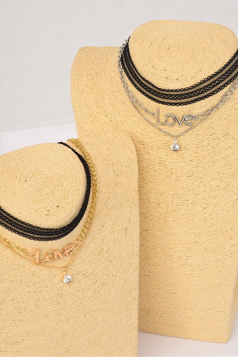 "Necklace Choker 36 pcs Love & Rhinestone Drop Lace Stretch/DZ Lace 14"" Stretch,Necklace 16"" Extension Chain,6 Gold,6 Silver Asst,Display Card & OPP Bag & UPC Code,3 pcs per Card,12 Card= Dozen"