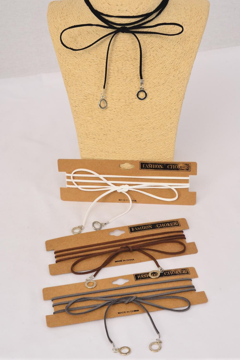 Necklace Faux Suede Cord String Wrap Bolo Tie Choker Metal Accent On Bottom/DZ Color-3 Black,3 Brown,3 Gray,3 White,4 Color Asst,Display Card & OPP Bag & UPC Code