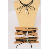 Necklace Faux Suede Cord String Wrap Bolo Tie Choker Tusk Charm/DZ Color-4 Black,4 Ivory,4 Turquoise,3 Color Asst,Display Card & OPP Bag & UPC Code