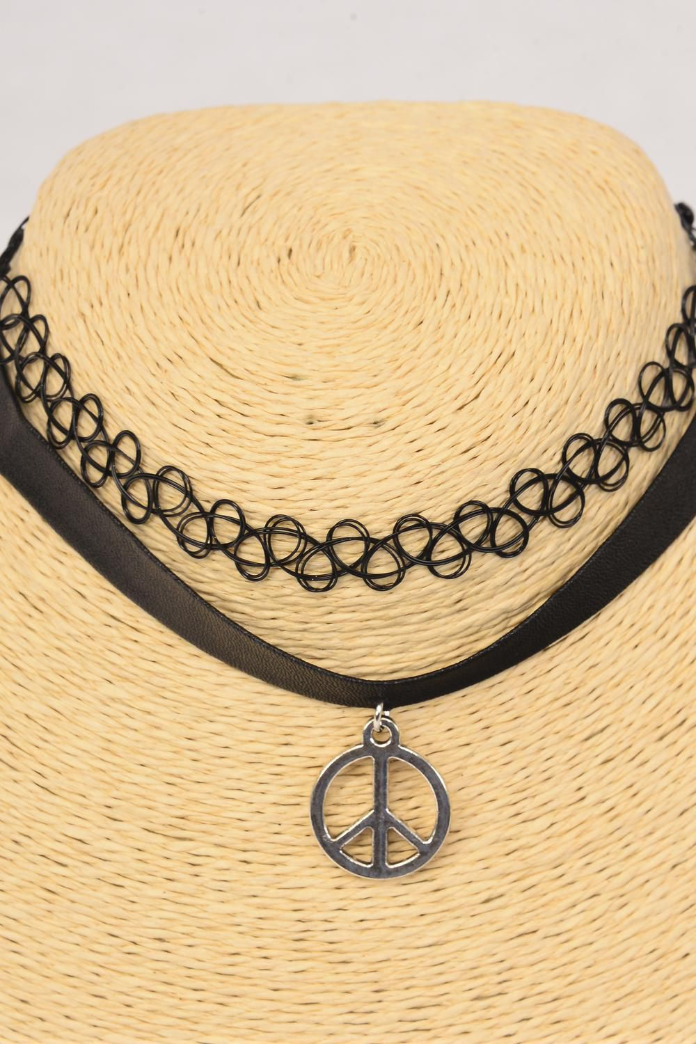 Necklace Choker 24 Pcs Leather Feel Peace Sign & Gothic