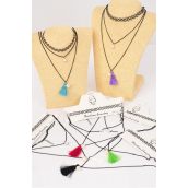 "Necklace 2 Strand Chain Pearl Tassel Tattoo Henna Necklace/DZ Size-14"",2 of each Color Asst,Display Card & OPP Bag & UPC Code,2 pcs Prer Card,12 Card= Dozen"