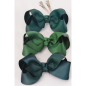 "Hair Bow Large Spruces Hunter Forest Green Mix Grosgrain Bowtie/DZ **Spruces Hunter Forest Green Mix/DZ** Alligator Clip,Size-4""x 3"" Wide,4 Of each Color Asst,Clip Strip & UPC Code"