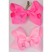 "Hair Bow Jumbo Bow Pink Ribbon Alligator Clip Grosgrain Bow-tie/DZ **Alligator Clip** Size-6""x 5"" Wide,6 Hot Pink,6 Baby Pink Mix,Clip Strip & UPC Code"