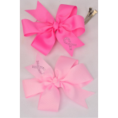 "Hair Bow Large Pink Ribbon Alligator Clip Grosgrain Bow-tie/DZ **Alligator Clip** Size-6""x 6"" Wide,6 Hot Pink,6 Baby Pink Mix,Clip Strip & UPC Code"