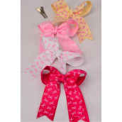 "Hair Bow Long Tail Double Layer Pink Ribbons Grosgrain Bowtie/DZ **Alligator Clip** Size-6.5"" x 6"" Wide,4 Hot Pink,4 Baby Pink,2 Beige,2 Whiter Mix,W Clip Strip & UPC Code"