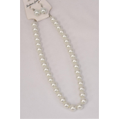 "Necklace Sets 12 mm Glass Pearls White/DZ **White Pearl** Size-18"" Extension Chain,Hang Tag & OPP Bag & UPC Code -"