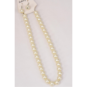 "Necklace Sets 12 mm Glass Pearls Cream/DZ **Cream Pearl** Size-18"" Extension Chain,Hang Tag & OPP Bag & UPC Code -"