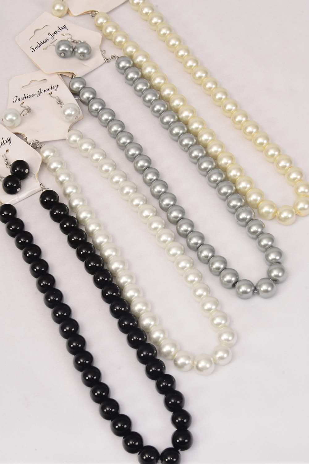 "Necklace Sets 12 mm Glass Pearls Mix/DZ Size-18"" Extension Chain,3 White,3 Cream,3 Gray,3 Black,4 Color Asst,Hang Tag & OPP Bag & UPC Code"