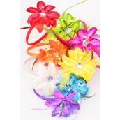 "Headband Horseshoe Sequin Daisy Flower W Feathers Multi/DZ **Multi** Flower-4.5"" Wide,2 Fuchsia,2 Purple,2 Yellow,1 White,1 Orange,1 Lime,1 Red,1 Black,1 Blue,9 Color Asst,Hang Tag & UPC code"