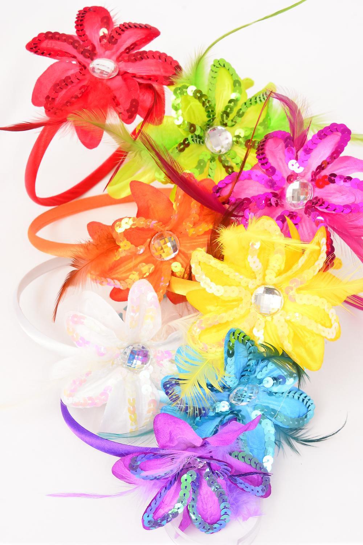 Headband Horseshoe Sequin Daisy Flower W Feathers Multi Dz