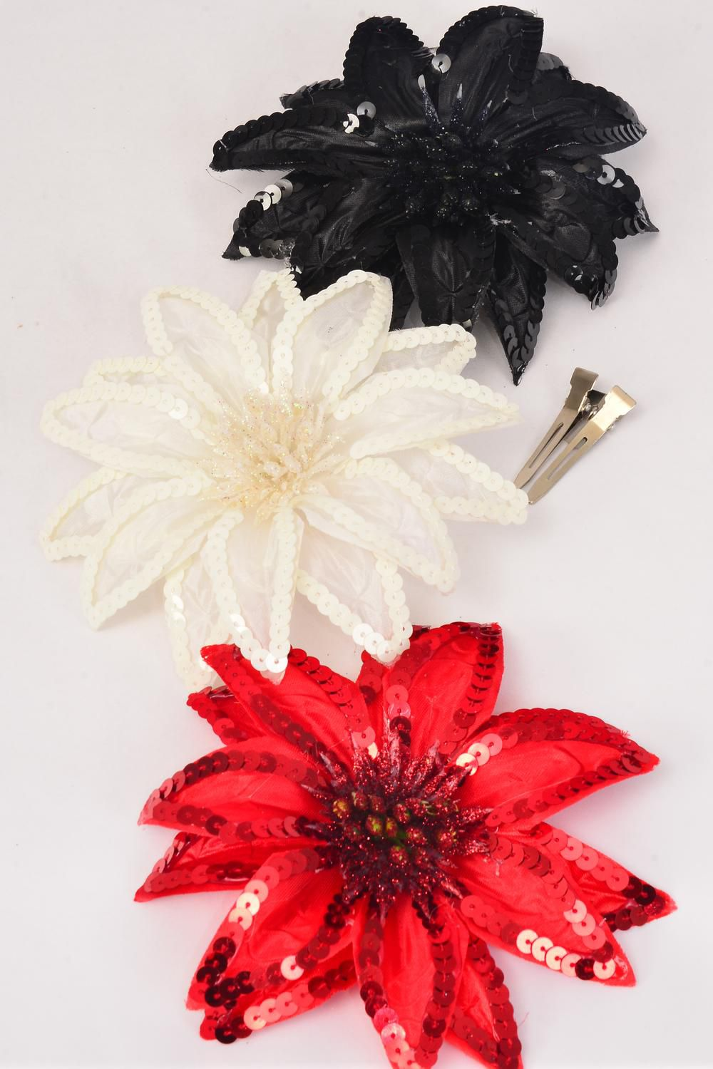 "Sequin Flower Jumbo Poinsetta Red Black Beige Mix Alligator Clip/DZ Size-6"" Wide,Alligator Clip & Brooch,4  of each Color Asst,Display Card & UPC Code, Clear Box"