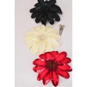 "Sequin Flower Jumbo Sequin Red Black Beige Mix Alligator Clip & Brooch/DZ **Flower Size-6"",Alligator Clip & Brooch,4  of each Color Asst,Display Card & UPC Code,Clear Box"