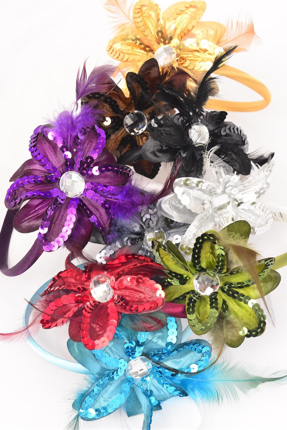 "Headband Horseshoe Sequin Daisy Flower W Feathers Dark Multi/DZ **Dark Multi** Flower-4.5"" Wide,2 Black,2 Brown,2 Silver,1 Blue,1 Purple,1 Gold,1 Red,1 Green,1 Gray,9 Color Asst,hang tag & UPC Code"
