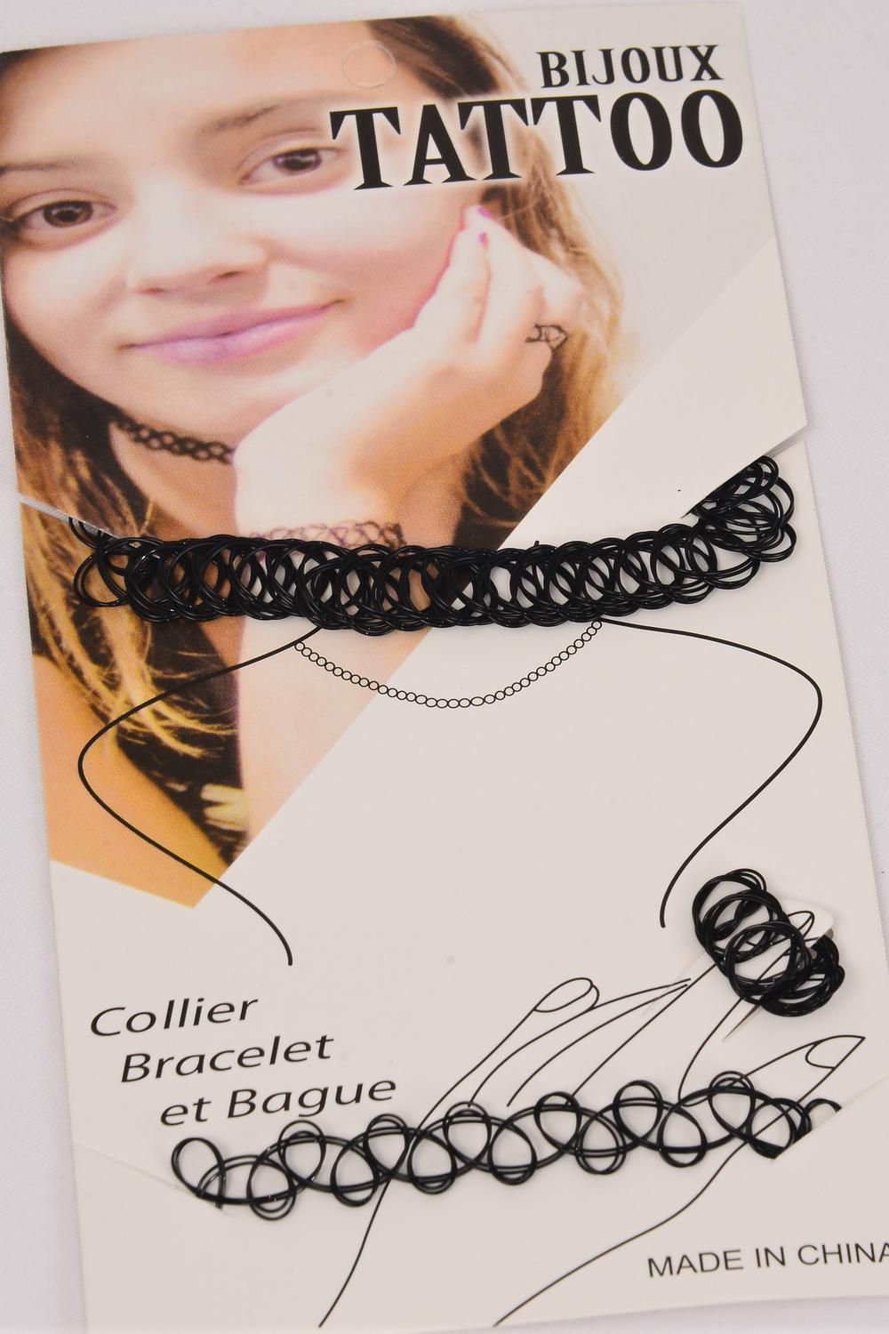 Set 3 pcs Tattoo Choker Stretch Necklace Black/SET **Black** Display Card & OPP Bag & UPC Code,3 pcs per Card,12 card=Dozen