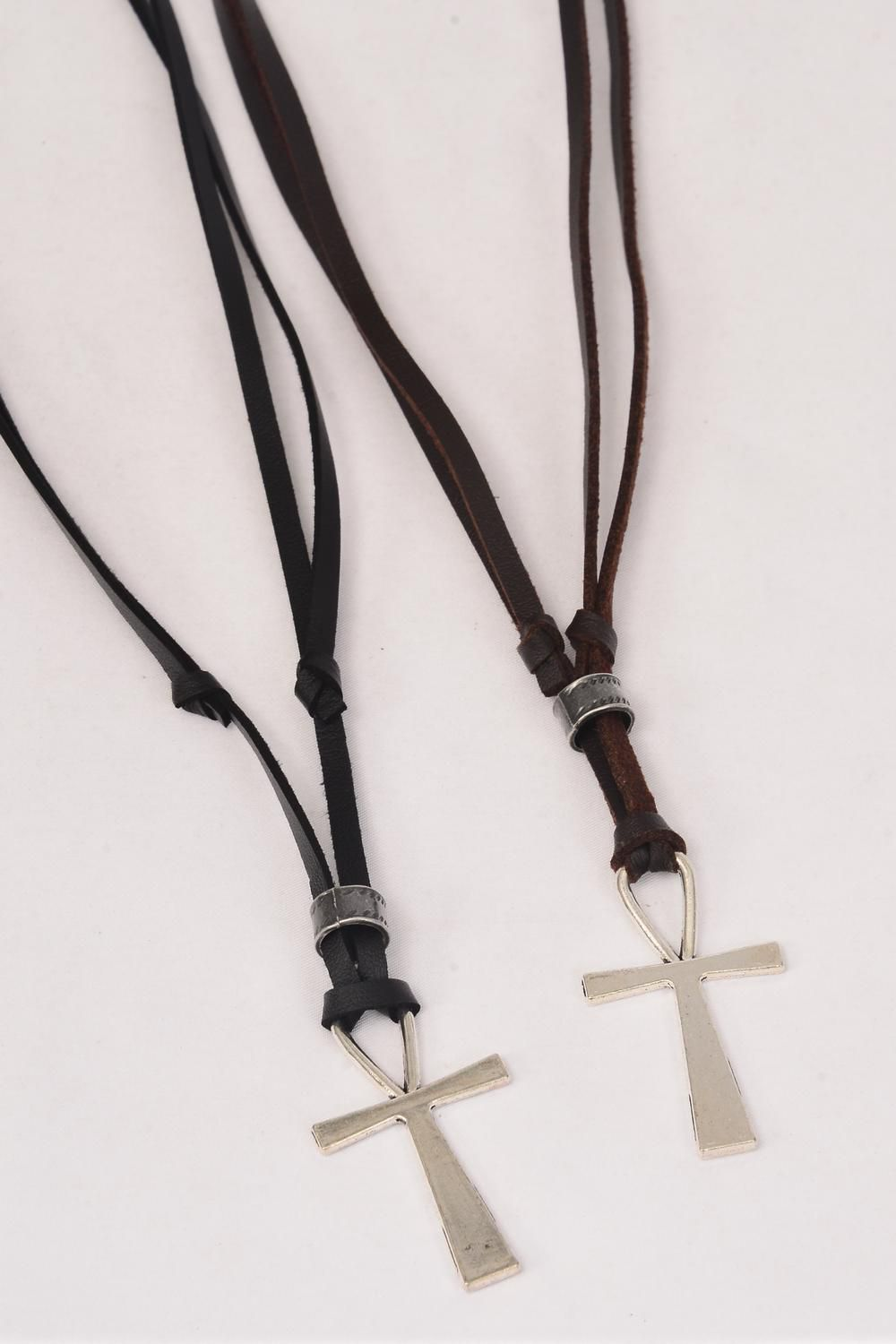 Men's Leather Necklace Ankh/DZ **Adjustable** 6 Black & 6 Brown Leather Mix,Hang Tag & OPP Bag & UPC Code -