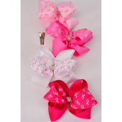 "Hair Bow Jumbo Pink Ribbon Double Layer Center Stones Alligator Clip Grosgrain Bow-tie/DZ **Alligator Clip** Size-6""x 6"" Wide,3 of each Color Asst,Clip Strip & UPC Code"