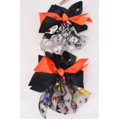 "Hair Bow Large Halloween Metallic Pumpkin & Cat Alligator Clip Grosgrain Bow-tie/DZ **Alligator Clip** Size-7""x 6"" Wide,6 of each Color Asst,Clear Strip & UPC Code"