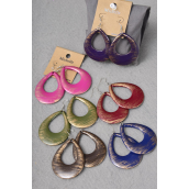 "Earrings Acrylic fall Teardrop Dangle Dark Multi/DZ **Fish Hook** Size-2""x 2.25"" Wide,finish 2 Side,2 of each Color Asst,Earring Card & Opp Bag & UPC Code -"