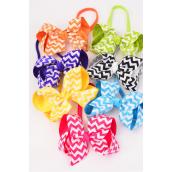 "Elastic Headband Jumbo Chevron Bow Grosgrain Bow tie/DZ **Citrus** Size-6""x 5"" Wide,2 Fuchsia,2 Blue,2 Yellow,2 Purple,2 White,1 Lime,1 Orange,7 Color Mix, Clip Strip & UPC Code"