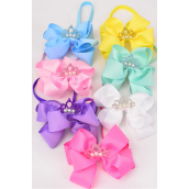 "Elastic Headband Jumbo Tiara Pearl Double Layer Bow Pastel Grosgrain Bow tie/DZ **Pastel** Elastic,Size-6""x 6"" Wide,2 Baby Pink,2 White,2 Yellow,2 Blue,2 Lavender,1 Hot Pink,1 Green 7 Color Asst,Hang Tag & UPC Code,W Clear Box"