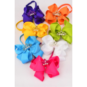 "Elastic Headband Jumbo Tiara Pearl Double Layer Bow Citrus Grosgrain Bow tie/DZ **Citrus** Size-6""x 6"" Wide,2 Fuchsia,2 Blue,2 Yellow,2 Purple,2 White,1 Lime,1 Orange,7 Color Mix,Hang Tag & UPC Code,Clear Box"