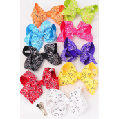 "Hair Bow Jumbo Bandanna Multi Grosgrain Bow-tie/DZ **Multi** Alligator Clip,Size-6""x 5"" Wide,2 Black,2 White,2 Fuchsia,1 Purple,1 Red,1 Yellow,1 Blue,1 Lime,1 Orange Asst,Clip Strip & UPC Code"