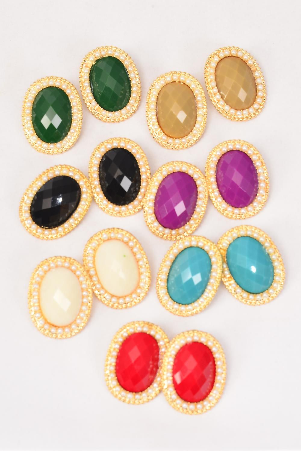"Earrings Metal Oval Gold Oval Poly Stone & Pearl All Around Post/DZ **Post** Size-1.25""x 1"" Wide,2 Red,2 Black,2 White,2 Blue,2 Purple,1 Green,1 Khaki Mix,Earring Card & OPP bag & UPC Code -"
