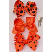 "Hair Bow Large Orange Polkadots 4""x 3"" Bow-tie Grosgrain Fabric Alligator Clip/DZ **Alligator Clip** Bow-5""x 4"" Wide,4 of each Pattern Mix,Clip Strip & UPC Code"
