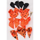 "Hair Bow Halloween 24 pcs Long Tail Polkadots  3.5""x 3"" Bow-tie Grosgrain Alligator Clip/DZ **Halloween** Alligator Clip,Size-4""x 3.5"" Wide,3 of each Color Asst,Clip Strip & UPC Code -"