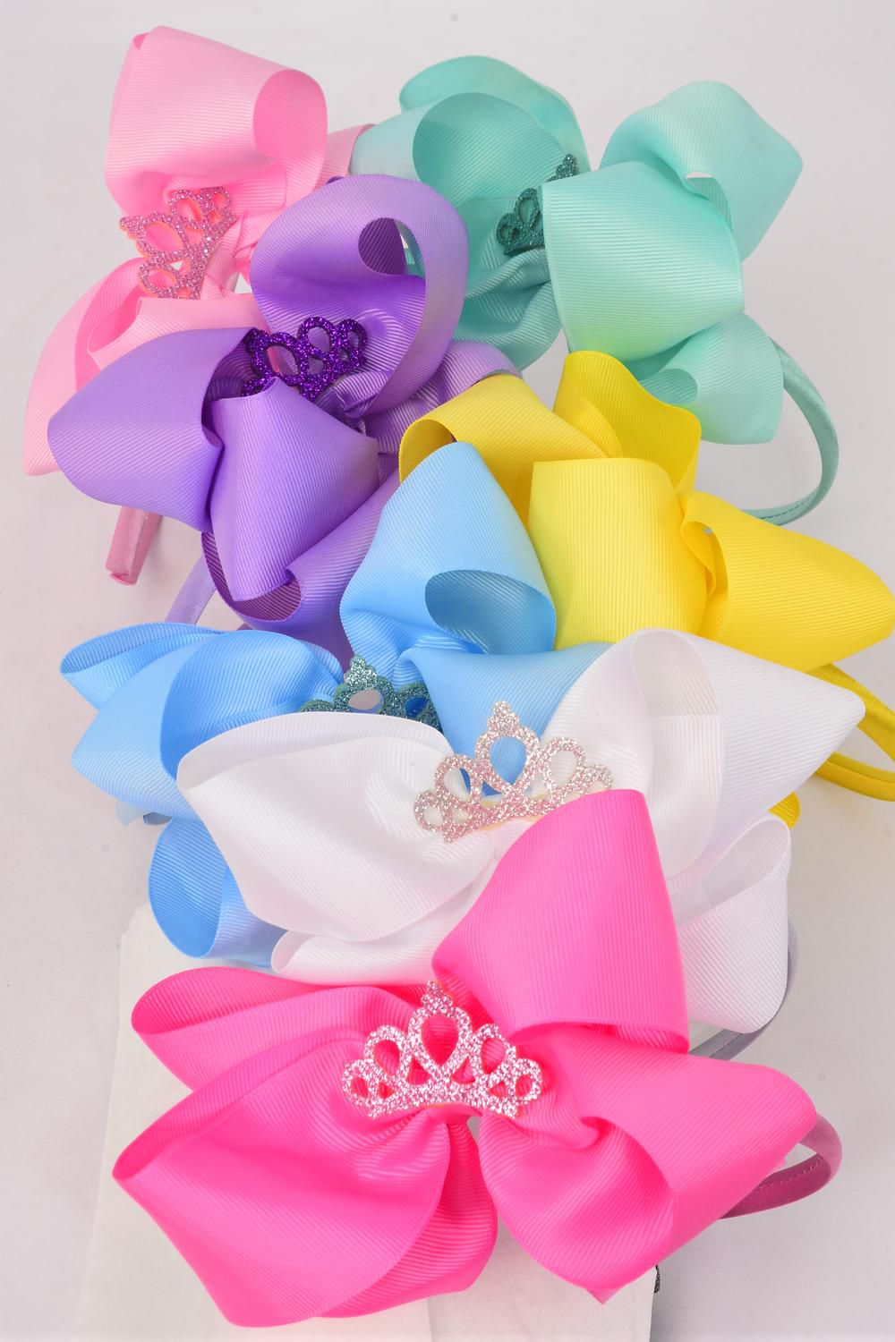 "Headband Horseshoe Jumbo Tiara Pearl Double Layered Grosgrain Bow-tie Pastel/DZ **Pastel** Bow Size-6""x 6"" Wide,2 White,2 Pink,2 Yellow,2 Lavender,2 Blue,1 Hot Pink,1 Mint Green,7 Color Mix,Display Card & UPC Code,Clear Box"