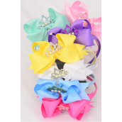 "Headband Horseshoe Tiara Pearl Double Layered Grosgrain Bow-tie Pastel/DZ **Pastel** Bow Size-6""x 5"" Wide,2 White,2 Pink,2 Yellow,2 Lavender,2 Blue,1 Hot Pink,1 Mint Green,7 Color Mix,Display Card & UPC Code,Clear Box"