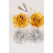 "Flowers 24 pcs Metallic Pearl Strings Gold & Silver Asst/DZ **Alligator Clip** Flower Size-2.75"" Wide,6 Gold & 6 Silver Mix,2 pcs per Card,12 card=Dozen,Display Card & UPC Code,W Clear Box"