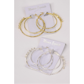 "Earrings Metal Double Circle Clear Rhinestones/DZ **Post* Size-1.75"" Wide,6 Gold & 6 Silver Mix,Earring card & Opp Bag & UPC Code -"