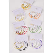 "Earrings 3 Pair Metal Hoop & 10mm Pearl Ball Mix/DZ **Post** Hoop-1.75"" & 2.25"" Mix,10 mm Pearl,6 Gold & 6 Silver Mix,each have 6 Color Mix,Earring Card & OPP Bag & UPC Code,3 pair/card,12 card=Dozen"
