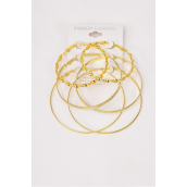"Earrings Gold 3 pair Metal Loop Mix Shape & Sizes/DZ Size-2"" & 2.5"" &2.75"" 3 Size Mix, Earring Card & OPP Bag & UPC Code,3 pair per card,12 card= Dozen"