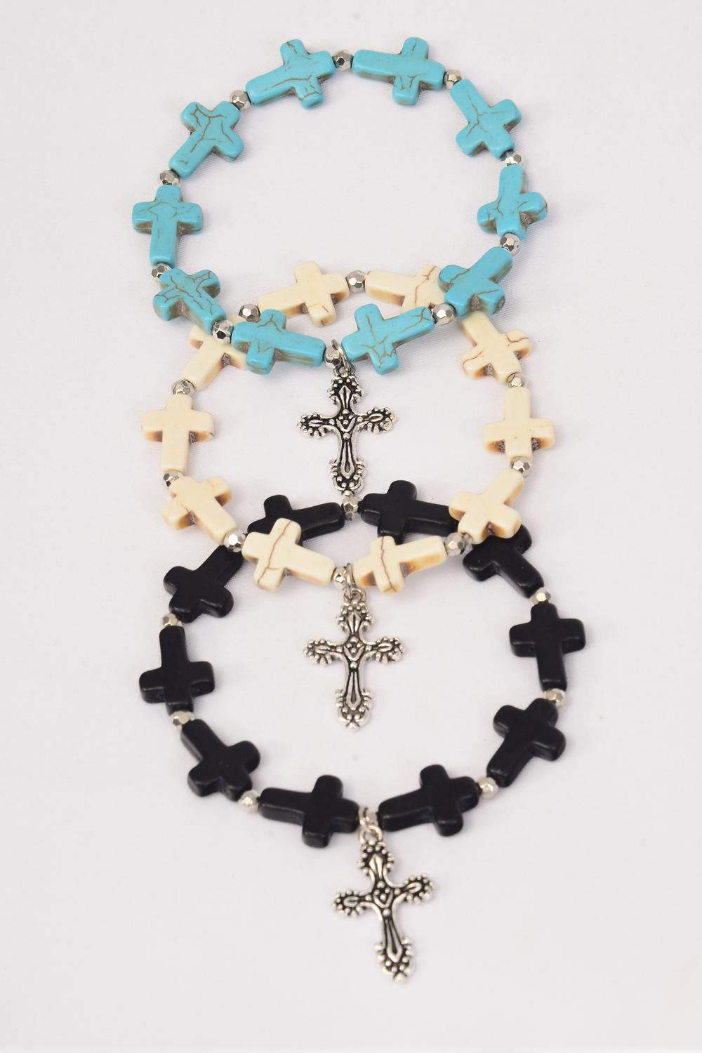 Bracelet Crosses W Cross Charm Stretch/DZ **Stretch** 4 Black,4 Ivory,4 Turquoise Asst,Hang Tag & OPP Bag & UPC Code