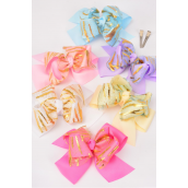 "Hair Bow Jumbo Double Layer Gold Strip Pastel Grosgrain Bow-tie/DZ **Pastel** Size-6""x 6"" ,Alligator Clip,2 of each Color Asst,Clip Strip & UPC Code"