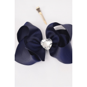 "Hair Bow Jumbo Center Large Acrylic Clear Heart Grosgrain Bow-tie Navy/DZ **Navy** Alligator Clip,Size-6""x 5"" Wide,Clip Strip & UPC Code"