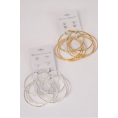 "Earrings 4 Pair Metal Loop & Studs Mix/DZ **Post** Loop Size-2.25"" Wide,Choose Gold Or Silver Finish,Earring Card & OPP bag & UPC code,4 pair per card,12 card=Dozen -"