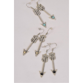 "Earrings Metal Antique Arrow Semiprecious Stone/DZ **Fish Hook** Size-1.75"" Long, 4 Black,4 Ivory,4 Turquoise Asst,Earring Card & OPP Bag & UPC Code -"