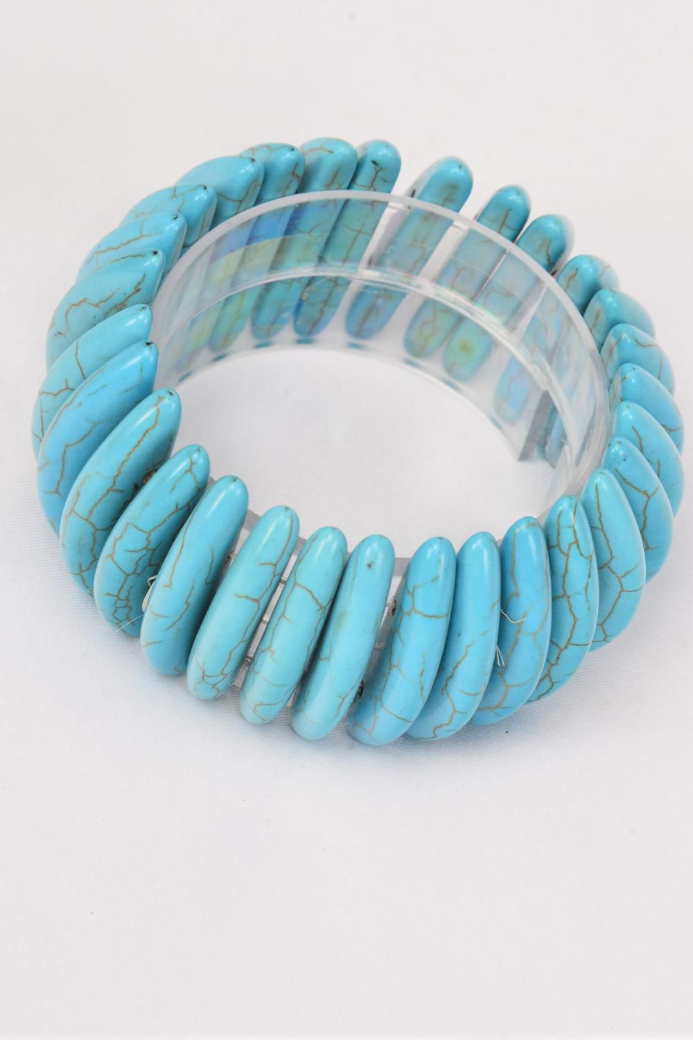 "Bracelet Turquoise Semiprecious Stones Stretchy/PC **Stretch** High-1.75"", Hang Tag & OPP Bag & UPC Code"