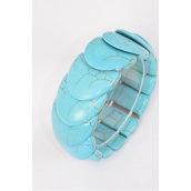 "Bracelet Turquoise Hand Carved Real Semiprecious Tones Stretchey/PC **Stretch** Size-High 1"" Dia Wide,Hang Tag & OPP Bag & UPC Code"