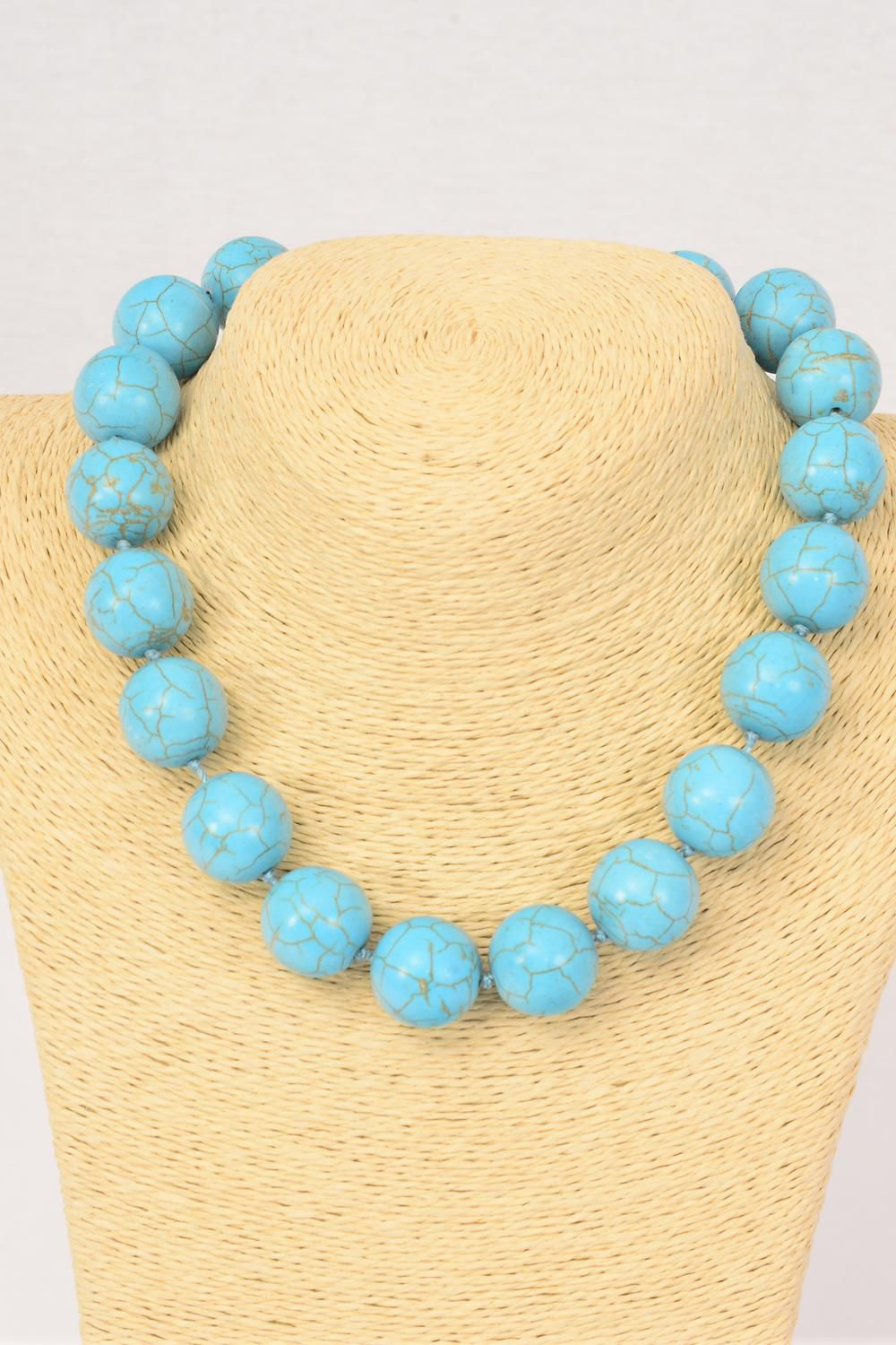 "Necklace 20 mm Turquoise Semiprecious Stones/PC **Turquoise** Size-18"" extension Chain, Hang tag & Opp Bag & UPC Code"