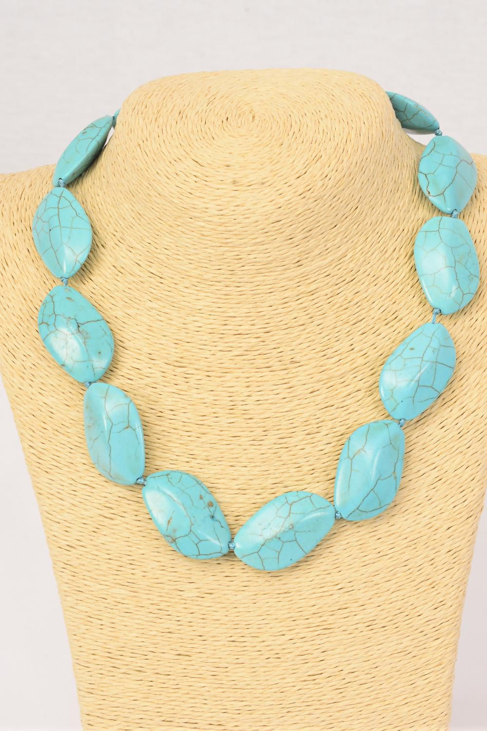 "Necklace Turquoise Hand Carved Oblique Real Semiprecious Stones/PC **Turquoise** Block Size-21 cm x 31 cm,Size-18"" extension Chain, Hang tag & Opp Bag & UPC Code"