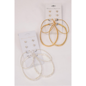 "Earrings 4 pair Metal Oval Hoop & Rhinestone Studs Mix/DZ **Post** Loop Size-1.5""x 2"" & 2""x 2.5"" Wide,Choose Gold Or Silver Finish,Earring Card & OPP bag & UPC Code,4 pair per card,12 card=Dozen -"