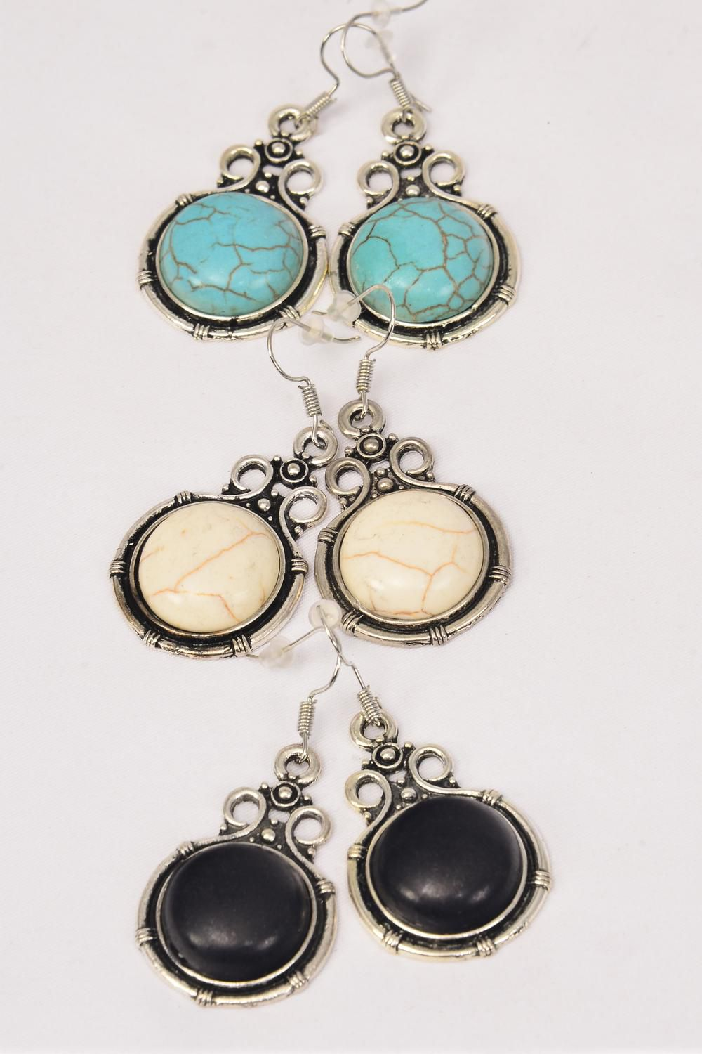 "Earrings Metal Antique Round Dangle Semiprecious Stone/DZ **Fish Hook** Size-1.5""x 1"" Wide,4 Black,4 Ivory,4 Turquoise Asst,Earring Card & OPP Bag & UPC Code -"