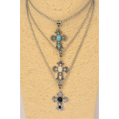 "Necklace Silver Chain Cross Semiprecious Stone/DZ Pendant-1.5""x 1.25"" Wide,Chain-18"" Extension Chain,4 Ivory,4 Black,4 Turquoise Asst,Hang Tag & OPP Bag & UPC Code"