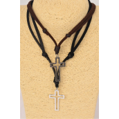 "Men's Leather Necklace Open Cross/DZ **Adjustable** Cross-1.75""x 1"" Wide,6 Black & 6 Brown Leather Mix,Hang Tag & OPP Bag & UPC Code -"