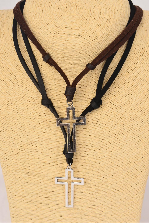 Men S Leather Necklace Open Cross Dz Adjustable Cross