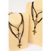 Men's Leather Necklace Cross/DZ **Adjustable** 6 Black & 6 Brown Leather Mix,3 of each Color Asst,Hang Tag & OPP Bag & UPC Code
